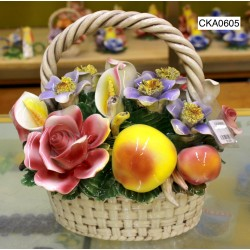BASKET FLOWERS AND FRUITS
