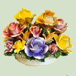 ROUND VASE MIXED FLOWERS - A0406