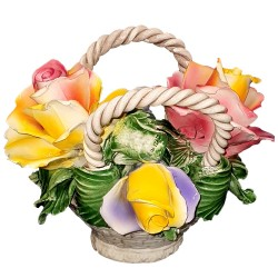 BASKET WITH MIXED FLOWER HANDLE - A0026